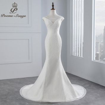 PoemsSongs real photo 2018 beading beading Sexy chest Mermaid wedding dress  Cap sleeves lace Wedding Gown Vestido de noiva