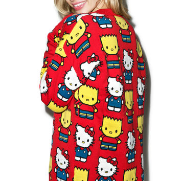 Japan L.A. Hello Kitty & Bart Simpson Cardigan Red
