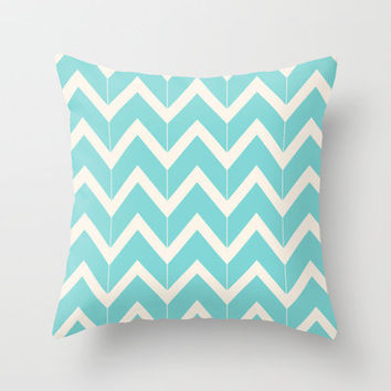 Aqua & Ivory Chevrons Throw Pillow by Beth Thompson