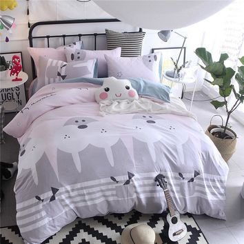 Off-White Cartoon Pattern 3/4pcs Bedding Sets/Bed Set/Bedclothes For Kids/Bed Linen Duvet Cover Bed Sheet Pillowcase,King Size