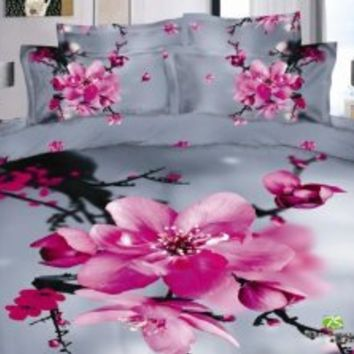 DIAIDI Oil Painting 3D Bedding Grey Pink Floral Duvet Cover Queen Luxury Wedding Comforter Set Cotton Romantic Twill Active Print Bed Sheets 4Pcs