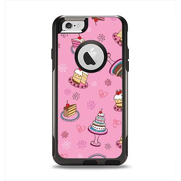 The Pink with Yummy Cakes Apple iPhone 6 Otterbox Commuter Case Skin Set