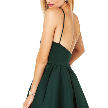 Thick Scuba Party Dress in Hunter