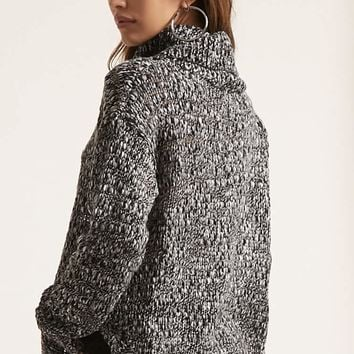 Marled Open Knit Turtleneck Sweater