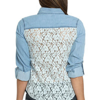 Crochet Back Denim Shirt | Shop Just Arrived at Wet Seal