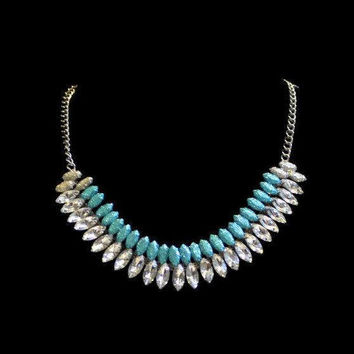 1980's Rhinestone Collar Necklace, Clear Rhinestones, And Painted Blue Glitter Stones