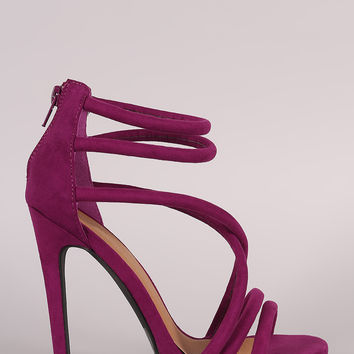 Qupid Suede Crisscross Straps Stiletto Heel