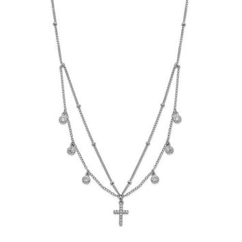 Sterling Silver CZ Cross With Choker Necklace
