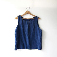Vintage silk tank top. deep blue camisole. minimal top. modern silk blouse. cut off tank top.