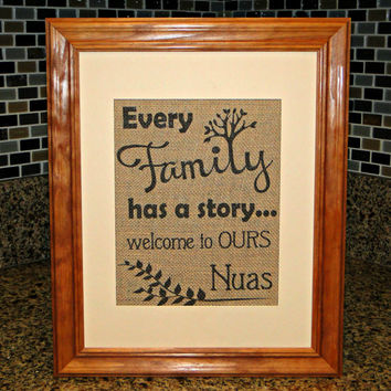 Our Family Story Burlap Print - FREE Priority Shipping!