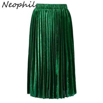 Neophil 2017 Green Gold Sequined Pleated High Waist Women Fashion Bling Bling Ladies Party Club Midi Skirts Tutu Faldas S08021