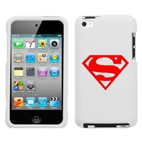APPLE IPOD TOUCH 4 ITOUCH 4TH RED SUPERMAN SYMBOL ON A WHITE HARD CASE COVER