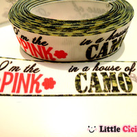 "5 Yards 7/8"" Hot Pink Green Camouflage Camo Ribbon on White Grosgrain Ribbon - 7/8"" ribbon by the yard - Cartoon Ribbon"