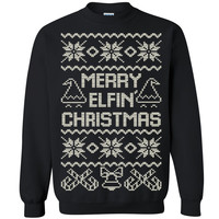 Merry Elfin Christmas Unisex Crewneck Xmas Ugly Sweater Funny Sweatshirt