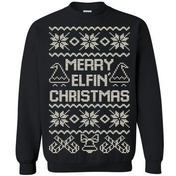 Zexpa Apparel™ Merry Elfin Christmas Unisex Crewneck Xmas Ugly Sweater Funny Sweatshirt