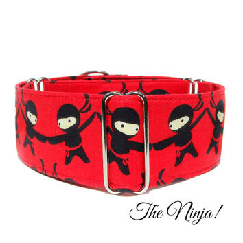 Red Ninja Dog Collar, Buckle or martingale collar, greyhound collar, great dane collar, whippet, italian greyhound, 2 inch wide custom