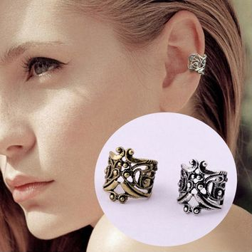 ES132 Vintage Antique Ear Cuff Punk Small Flower Hollow Charm Clip Earrings Cheap Jewelry For Women Men