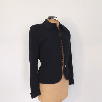 Vintage 1940s Navy Blue Fitted Blazer Riding Jacket 40s Travel Suit Coat Small Petal Collar Jacket Nipped Waist Fall Coat 1950's Suit Jacket