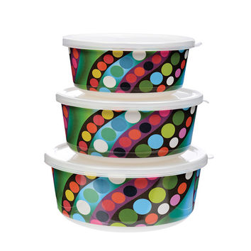 Set of 3 French Bull® Stackable Food Storage Containers - 2 Patterns