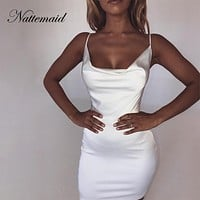 NATTEMAID Backless Strapless Satin Bodycon Dresses Women Mini Clubwear Zip Bandage Dress Summer Club Sexy White Dress Vestidos