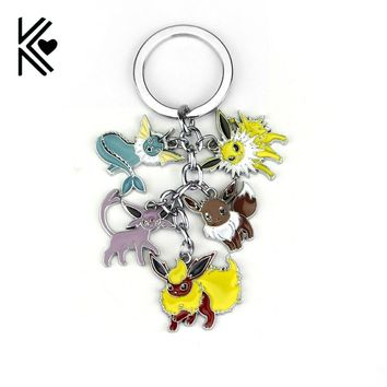 Pokemon Pocket Monster Vaporeon Eevee Flareon Espeon Jolteon 5 IN 1 Unisex Keyring Keychain Pendant Fan Gift Collectable