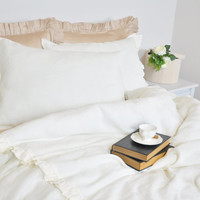 Linen Duvet Cover Set in Twin Twin XL, Pure Linen Bedding, Ruffled Dorm Bedding - Ivory, Ecru, Off White - Romantic, Shabby Chic Bedding