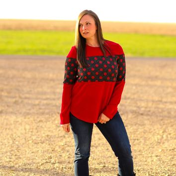 Austin Red and Black Polka Dot Sweater