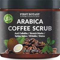 100% Natural Arabica Coffee Scrub 12 oz. with Organic Coffee, Coconut and Shea Butter - Best Acne, Anti Cellulite and Stretch Mark treatment, Spider Vein Therapy...