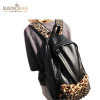 fashion Girls Street Punk Rivets Leopard Printing Backpack Villi Leather Women Backpack Knapsack Personality School Bag