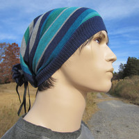 Mens Extra Long Slouchy Beanie Striped Hat Stripe Stocking cap Blue Turquoise  A1106