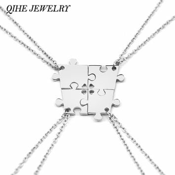 QIHE JEWELRY 4 Pieces Silver Color Interlocking Jigsaw Puzzle Pendants Necklace Mother Necklace Family Necklace Best Friend Gift