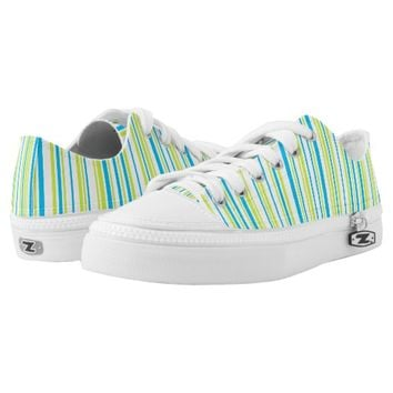 Turquoise blue lime green stripes geometric design printed shoes