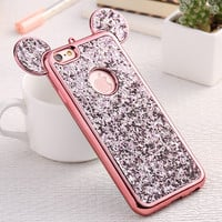 Luxury Mickey Mouse Ears Case For Iphone 7 Plus Cute 3D Cartoon Korean Style Bling Gliiter Cases For Iphone 7Plus Iphone7 Capa