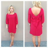 Red Bow Back 3/4 Sleeve Dress