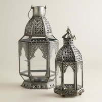 Antiqued Zinc Latika Tabletop Lantern