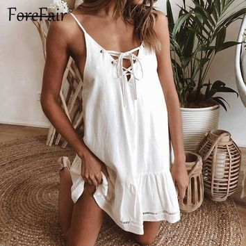 Forefair Casual women summer dress cotton sleeveless backless v neck lace up Ruffle white army green Shift mini sexy dress