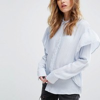 Pull&Bear Stripe Ruffle Top at asos.com