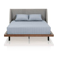 Andes Standard King Bed Pumice Fabric, Walnut Frame, Black Legs
