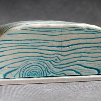 Ceramic Turquoise Wood Grain Butter Dish