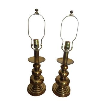 Pre-owned Vintage 60s Brass Table Lamps - A Pair