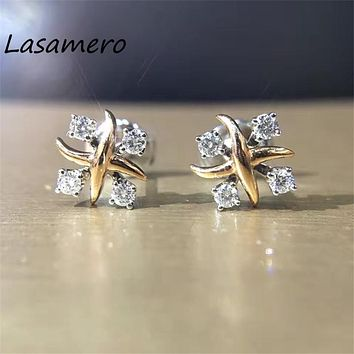 LASAMERO 0.26CTW Cluster Earrings 18K White Gold Flower Natural Diamond Stud Earrings Fine Jewelry Earring Studs