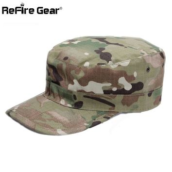 Trendy Winter Jacket ReFire Gear Army Camouflage Cap Men Multicam Soldier Combat Tactical Hat Flat Unisex Camo Casual   Baseball Caps AT_92_12