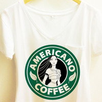 Pocahontas Americano Coffee Shirt |Disney Starbucks Pocket V neck tee