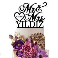 Personalized Wedding Cake Topper Mr Heart Mrs With Date