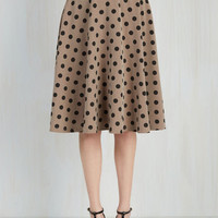 Vintage Inspired Long A-line Bugle Joy Skirt in Khaki Dots