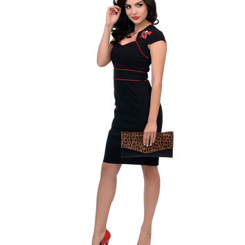 Hell Bunny Black & Red Cap Sleeve Skull & Bow Viktoria Wiggle Dress