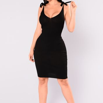 Adelia Ribbed Dress - Black