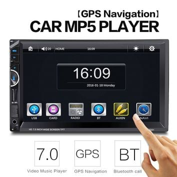 Hot 8001 2 Din 7'' Universal Car Radio Video Stereo Player GPS Navigation FM RDS USB AUX Bluetooth with Remote Control