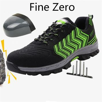 Fine Zero Male Big Size Air Mesh Steel Toe Cap Men Work Safety Shoes Breathable Working Boots Puncture Proof Protective Footwear