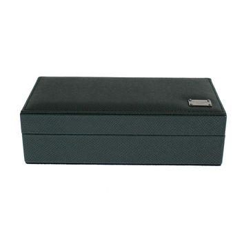 Dolce & Gabbana Green Leather Ring Cufflinks Organizer Box
